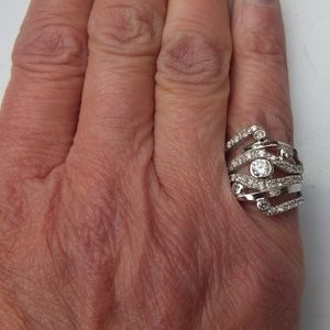 Jewelry - Silver Statement Ring With Cubic Zirconia Accents